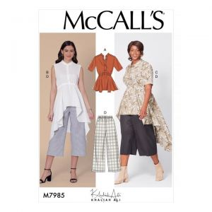 McCalls Sewing Pattern Misses Top Tunics and Pants M7985B5 8-16