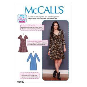 McCalls Sewing Pattern Misses Dresses M8020E5 14-22