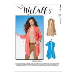 McCalls Sewing Patterns Misses Shawl Collar Cardigans M8052ZZ L-XXL