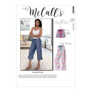 McCalls Sewing Patterns Misses Drawstring Shorts Pants Pockets M8063Y XS-M