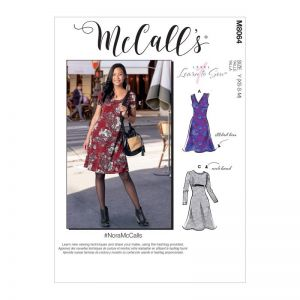 McCalls Sewing Patterns Misses Knit Dresses V Crew or Scoop Neck M8064Y S-M