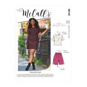 McCalls Sewing Pattern Agnes Miss Petite Short Sleeve Top Dress M8160A XS-XXL