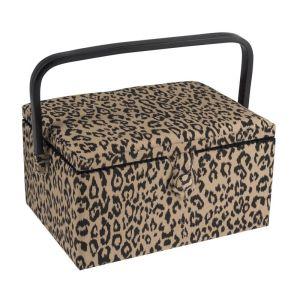 Sewing Basket Leopard Brown Black Beige 19x26x14.5cm
