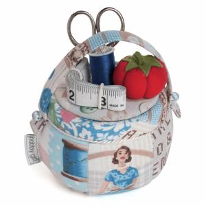 Handmade Sewing Basket Pin Cushion Blue Multi 11 x 11 x 12cm