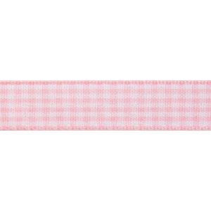 Reel of Gingham Ribbon Code B Light Pink White 6mm x 5m