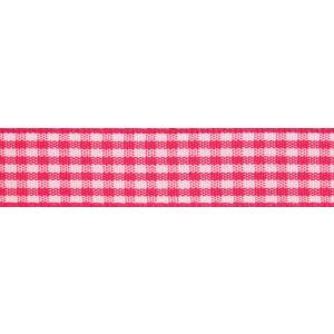 Reel of Gingham Ribbon Code B Hot Pink White 9mm x 5m