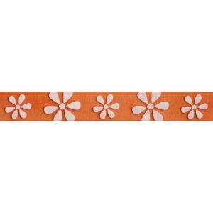 Reel of Daisy Ribbon Code C White on Orange 15mm x 3.5m