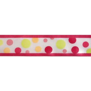 Reel of Multiple Spots Ribbon Code B Pink on White 25mm x 3m
