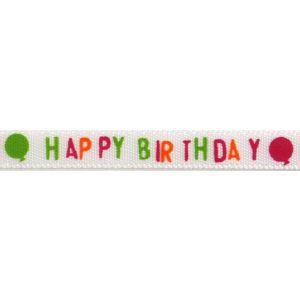 Reel of Happy Birthday Balloons Ribbon Code C Orange Green Pink 6mm x 4.5m