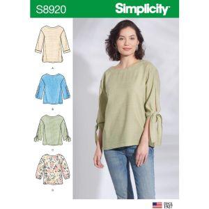 Simplicity Sewing Pattern Misses Tops 8920U5 16-24