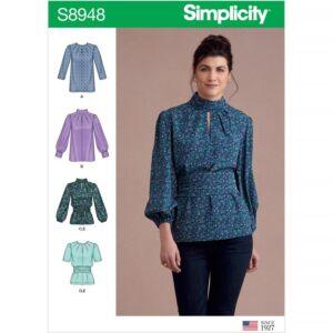 Simplicity Sewing Pattern Misses Blouses with Cummerbund US8948R5 14-22