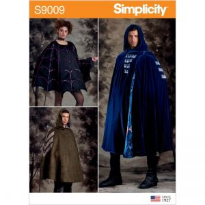 Simplicity Sewing Pattern Misses Mens and Teens Cape Costumes 9009OS One Size