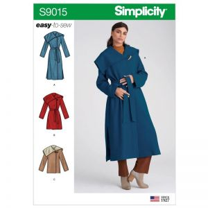 Simplicity Sewing Pattern Misses and Misses Petite Coat with Belt 9015H5 6-14