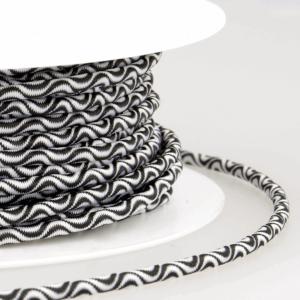 Round Wave Design Elastic 014 Black White 3mm