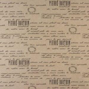 Script PVC Oilcloth Fabric Natural 132cm