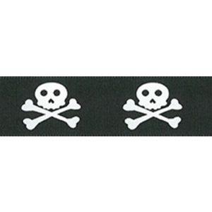 Berisford Skull and Bones Ribbon Black and White Col 1 25mm
