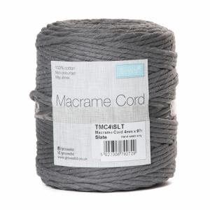 Reel of Macrame Cotton Cord Slate Grey 4mm x 87m