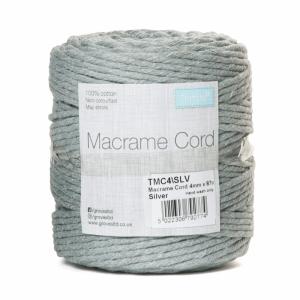 Reel of Macrame Cotton Cord Silver Grey 4mm x 87m