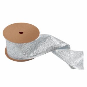 Glitter Ribbon Metallic Silver 63mm