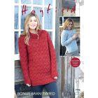 "Hayfield Aran Tweed Women's Polar Cowl Neck Jumper Pattern 7796 32-54"""